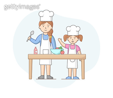 Motherhood Concept. Mother Spending Time With Daughter, Cooking Healthy Meal, Enjoying Spending Time Together. Mother Teach Daughter Cooking. Cartoon Linear Outline Flat Style. Vector Illustration