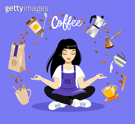 Young Female Character Sitting In Lotus Pose, Coffee Items Levitate Around. Girl Barista Wearing Apron Meditating On Blue Background. Coffee Lover Concept Vector Illustration In Colorful Flat Style