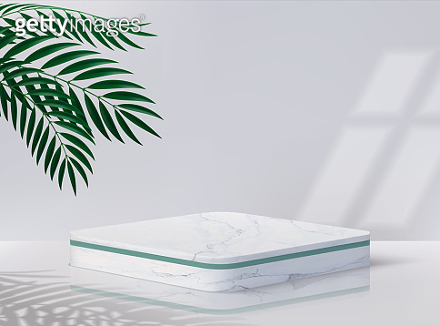 Minimal podium. Realistic pedestal for cosmetic product. 3D blank platform with white marble surface, overlay effects of plants shadows and light from window. Vector decorative showcase