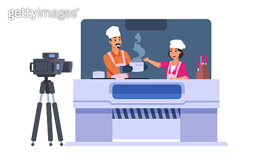 Television cooking show. Cartoon entertainment TV concept. Cute people shoot at camera how to cook. Food vlog channel. Chef master class video. Vector isolated cooker blog illustration