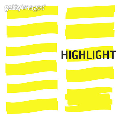Highlight Yellow Marker vector set. Highlight Yellow Marker isolated background. Highlight Yellow Marker stroke brush