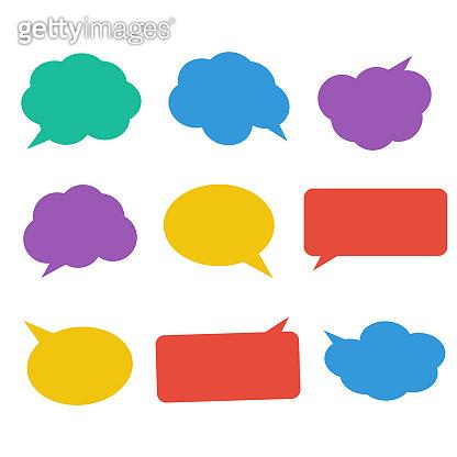 Blank empty white speech bubbles. Cloud bubble speech for communication