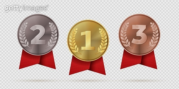 270819_Gold, silver, bronze champion medal with red ribbon. First, second, third placement achievement bages. Realistic vector illustration