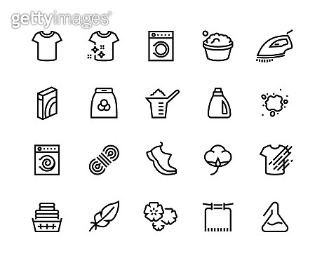 1908.m30.i020.n018.S.c12.1190676601 Laundry line icons. Cleaning, hand and machine washing of different types of fabric, dirty and clean t-shirts. Vector laundry set