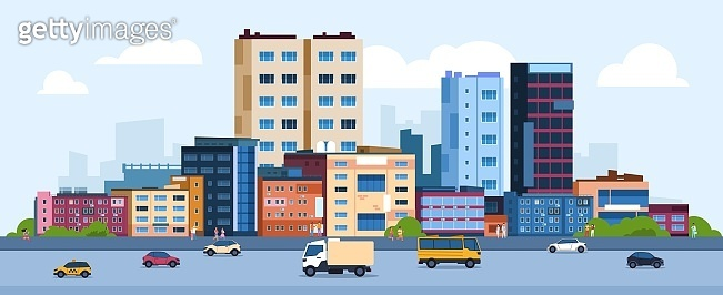 Urban landscape. Modern cartoon cityscape with buildings cars and street, flat urban downtown background. Vector city scene