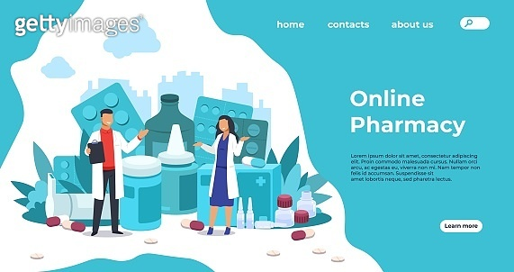 1910.m30.i010.n003.F.c06.1310917535 Pharmacy landing page. Medical support and drugs addiction concept, blisters with pills and capsules. Vector pharmacy store web page