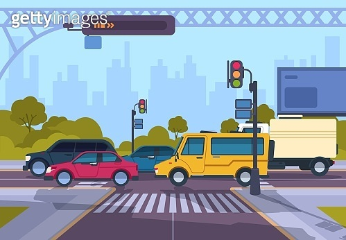 1910.m30.i010.n007.S.c12.1253503318 City street. Cartoon town cityscape with cars and crosswalk, town traffic on crosswalk. Vector urban highway landscape illustration