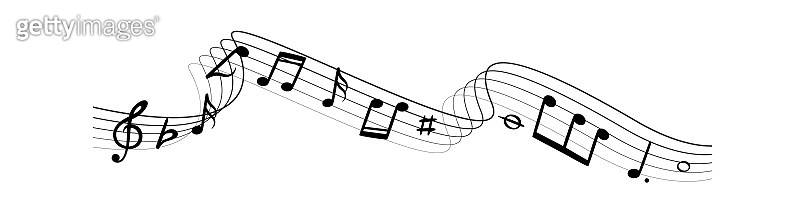 Music notes silhouettes. Musical swirl waves composition with lines vector illustration