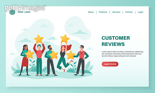 Customer reviews landing. Clients feedback rating, user evaluating product or service, people with stars design for mobile app, vector web page