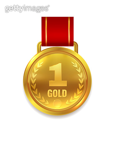Winner gold medal. Prize with red ribbon for certificate or first place trophy isolated vector illustration