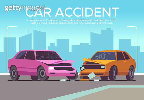 Car accident. Traffic collision on crossroads, drivers waiting police, damaged vehicle. Crash, insurance claim auto damage vector concept