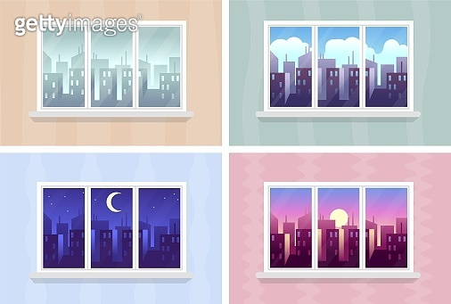 Window views. Morning, day and night cityscape, city buildings through house windows, buildings and skyscrapers at various time, modern urban landscape, vector flat cartoon illustrations