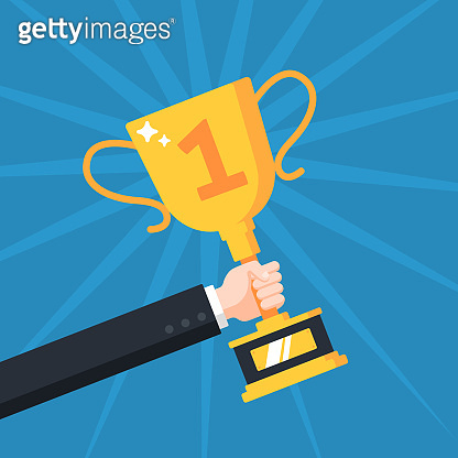 Hand with trophy cup. Successful businessman holding golden cup award in hand, competition winner prize, champion trophy reward vector concept