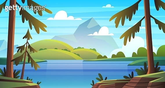 Summer sea landscape. Ocean seashore panorama, bay with vegetation and pine-trees, summer nature cartoon vector background