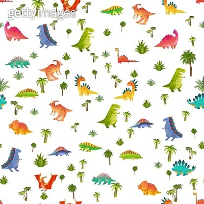 Baby dino seamless pattern. Animal dragon and cute nature dinosaur in jungle, childish bright texture for wallpaper, fabrics and wrapping paper, vector background isolated on white