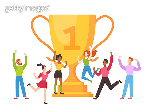 Trophy cup concept. Success business team with golden cup prize, people celebrating victory, leadership achievement, triumph vector illustration