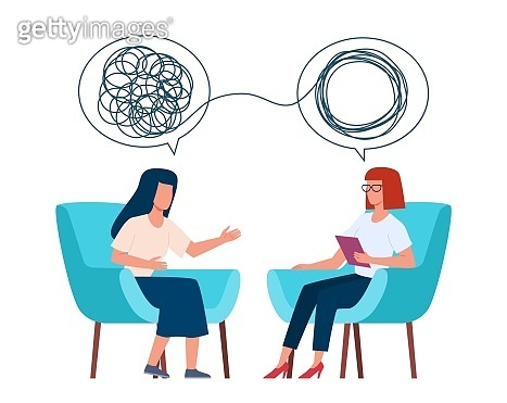 Psychotherapy concept. Psychologist and patient with tangled and untangled mind metaphor, doctor solving psychological problems, couch consultation, mental health vector illustration
