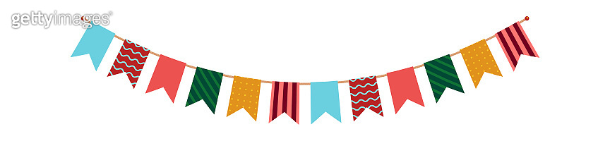 Party bunting. Flags garland with ornament decor, multicolor carnival festive hanging pennants, paper accessories for celebration, party decoration vector isolated single illustration