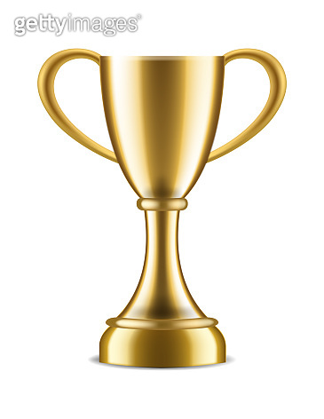 Winner trophy. Sport award for champion victory congratulations, realistic 3d gold vector cup on white background