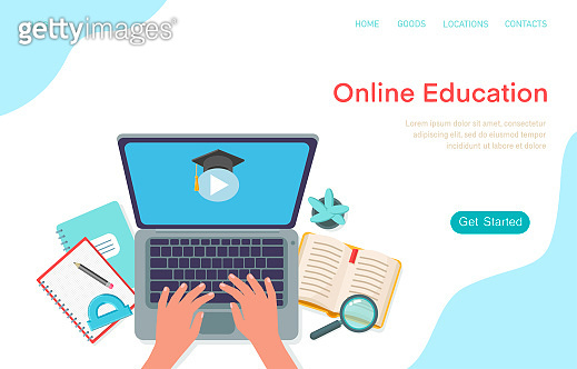 Online education landing page. Laptop and human hands, copy books, book, protractor, home plant, pencil.