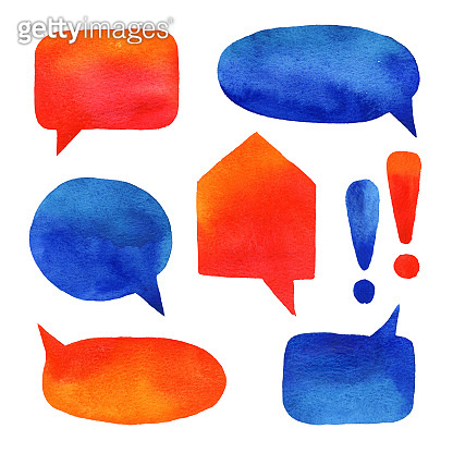 Watercolor hand painted illustrations of orange and blue speech bubble. Clipart of chat symbol for design label, sticker, report, presentation, visual communication. Isolated on white background.