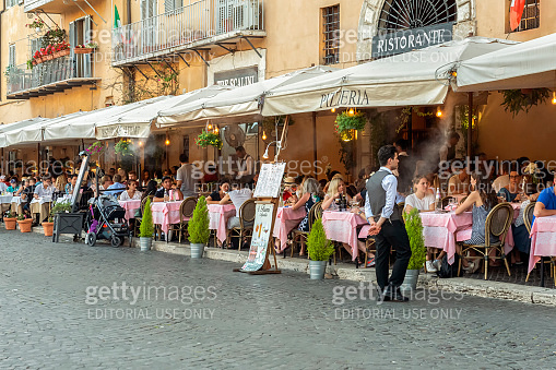 Street cafes and restaurants in Piazza Navona, Rome