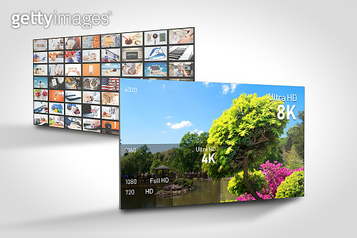 8K resolutions compare. TV multimedia web banner