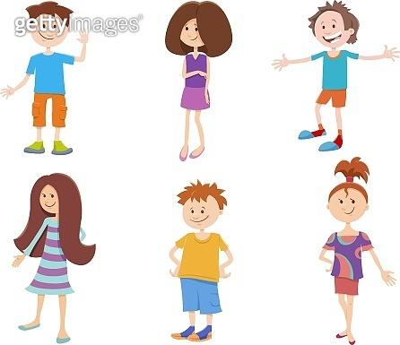 cartoon happy kids ant teens characters set