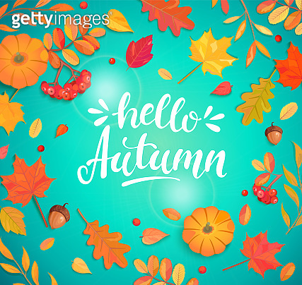 Hello autumn lettering surrounded by autumn leaves