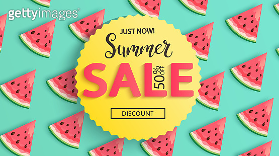 Sale banner for summer 2020 with watermelons.