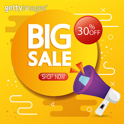 commercial label with big sale lettering and thirty percent discount