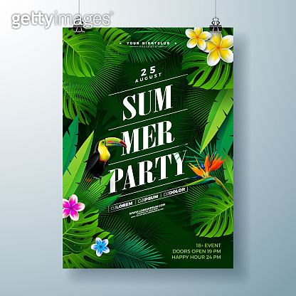 Summer Party Flyer Design with flower, tropical palm leaves and toucan bird on green background.