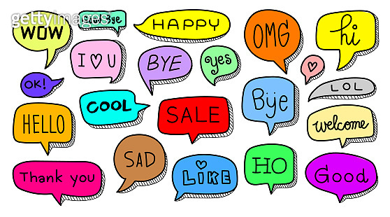 Speech bubble doodle with short messages on white background. Vector illustration EPS10. Hand drawn set of cute sketch online chat clouds with words, hello, hi, love, welcome and bye symbol.