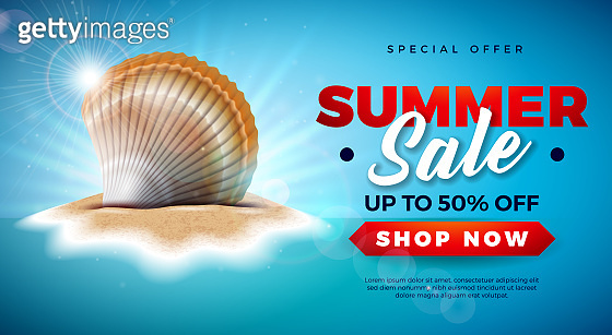 Summer Sale Design with Shell on Tropical Island Background. Vector Special Offer Illustration with Blue Ocean Landscape for Coupon, Voucher, Banner, Flyer, Promotional Poster, Invitation or greeting card.