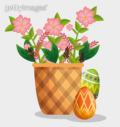 easter eggs decoration with flowers inside basket