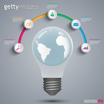 Vector lightbulb infographic design template. Business concept with 5 options, parts, steps or processes. New idea
