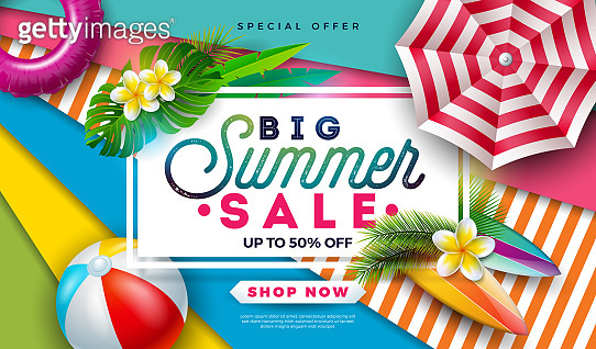 Summer Sale Design with Beach Ball, Sunshade and Exotic Palm Leaves on Colorful Background. Tropical Vector Special Offer Illustration with Typography Letter for Coupon, Voucher, Banner, Flyer, Promotional Poster, Invitation or greeting card.