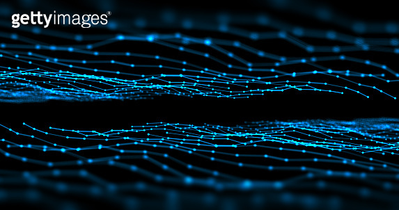 connected dots and lines connection on abstract technology background.3d illustration