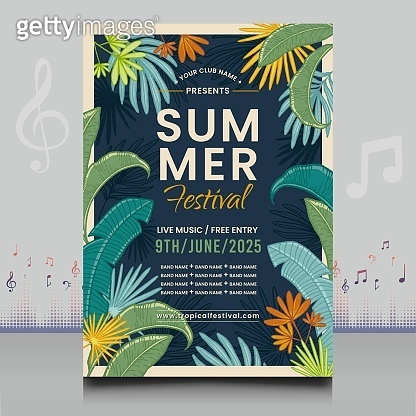 summer tropical festival flyer in creative style with decoration leaves shape design
