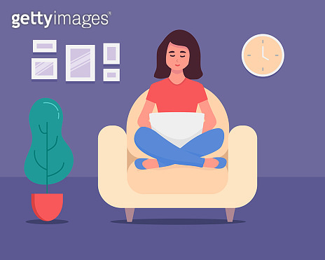 Girl with laptop at home. Freelance. studying concept. on notebook, studying, browsing internet, chatting, blogging. Young woman working Cute illustration in flat style. stay home Social distancing.