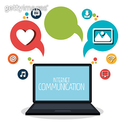 internet communication set icons