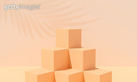 Abstract brown cube on wall background with palm leaf. 3d render for display product and banner. Blank box mockup with beige podium. Empty showcase for advertising. Creative ideas minimal summer