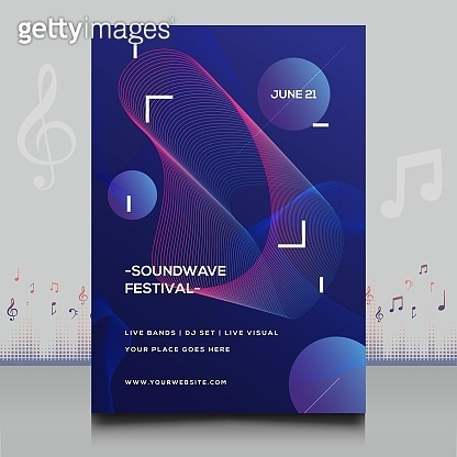elegant electronic music festival flyer in creative style with modern sound wave shape design