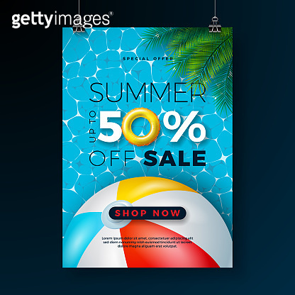 Summer Sale Poster Design Template with Float, Beach Ball and Tropical Palm Leaves on Blue Pool Background.