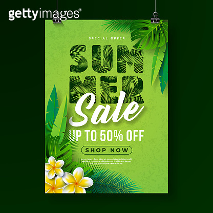 Summer Sale Poster Design Template with Flower and Exotic Leaves on Green Background. Tropical Floral Vector Illustration with Special Offer Typography for Coupon, Voucher, Banner, Flyer, Promotional Poster, Invitation or greeting card.