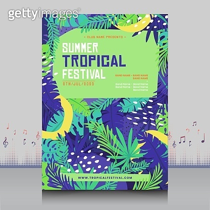 elegant hand drawn summer tropical festival flyer in creative style with decoration leaves shape design