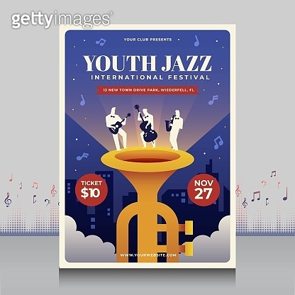 elegant hand drawn youth jazz music international festival poster in creative style with modern shape design