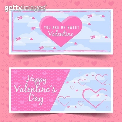 happy Valentines day sale banners design