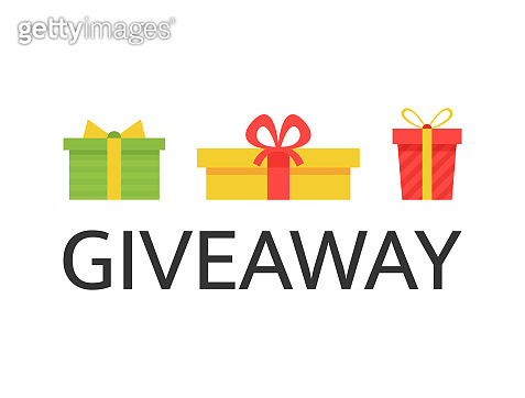 Giveaway banner with bright gift boxes. Social media background. Giveaway Christmas winner. Design elements for business account, advertising, web, flyer, promotion. Vector illustration