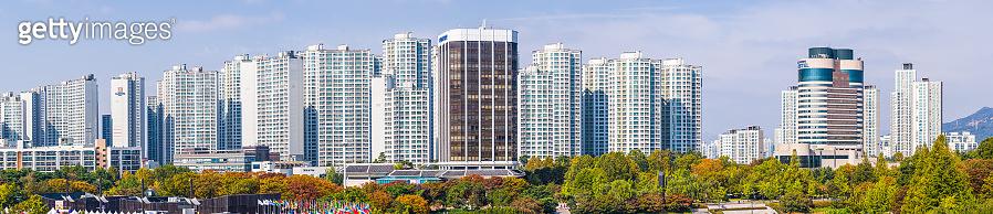 Highrise apartments crowded cityscape panorama futuristic skyline Seoul South Korea